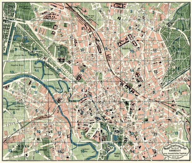 Old map of Hannover in 1922 Buy vintage map replica poster print or