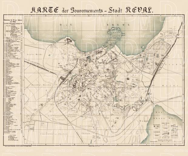 Old map of Tallinn in 1881 Buy vintage map replica poster print or
