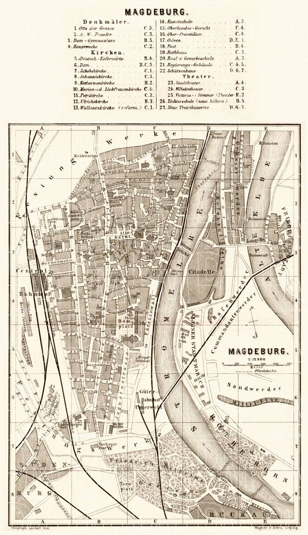 Old Map Of Magdeburg In 1887 Buy Vintage Map Replica Poster Print