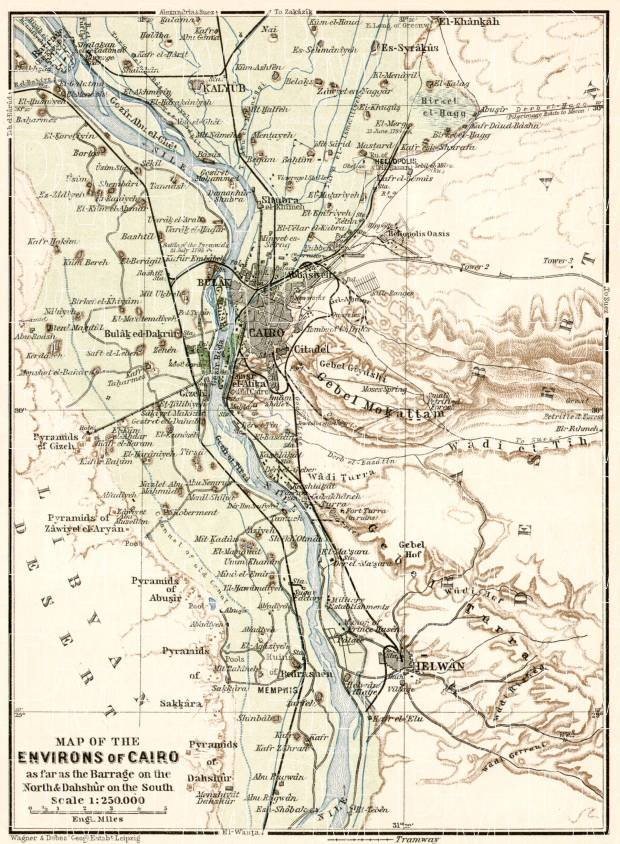 Old Map Of Cairo Vicinity In Buy Vintage Map Replica Poster - Vintage map of egypt
