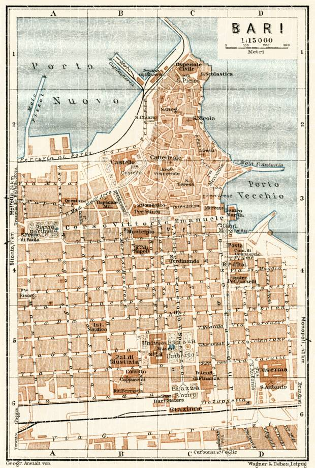 Old map of Bari in 1929 Buy vintage map replica poster print or