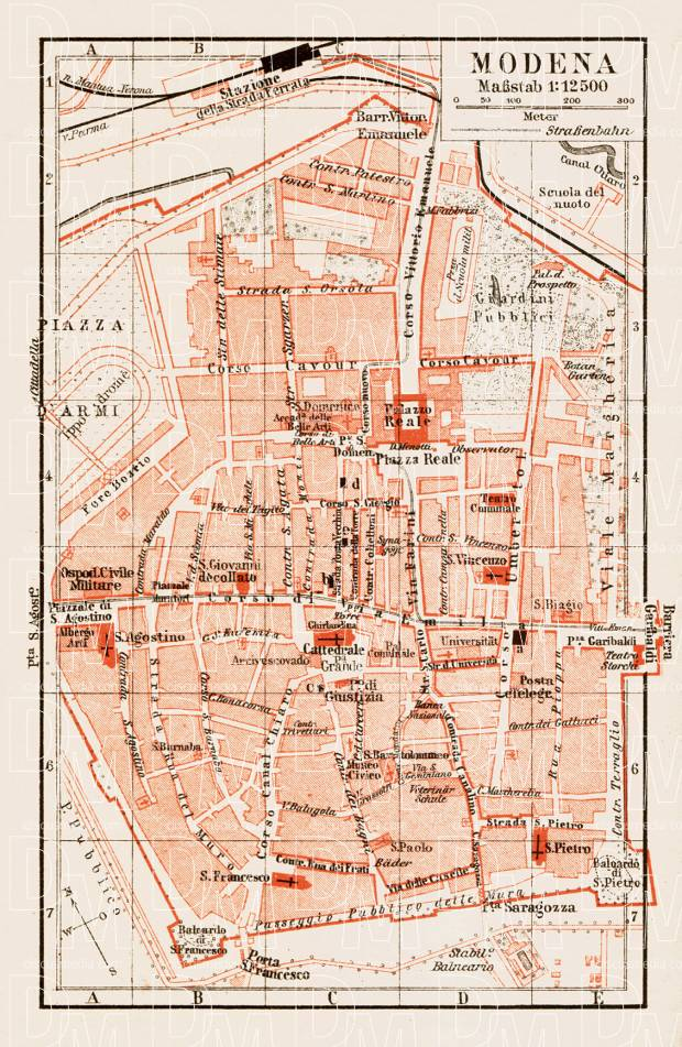 Old map of Modena in 1903 Buy vintage map replica poster print or