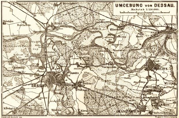 Old map of the vicinity of Dessau in 1887 Buy vintage map replica
