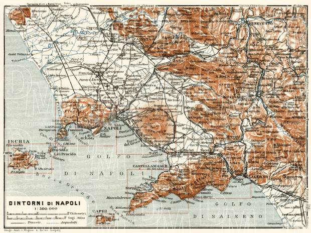 Old map of Naples (Napoli) vicinity in 1929. Buy vintage ...