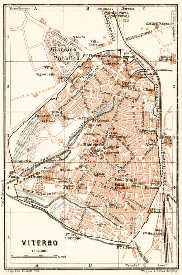 Old Map Of Viterbo In 1909 Buy Vintage Map Replica Poster Print Or