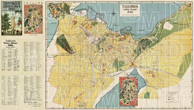 Old map of Tallinn and close suburbs in 1938 Buy vintage map