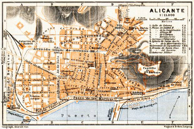 Old map of Alicante in 1929 Buy