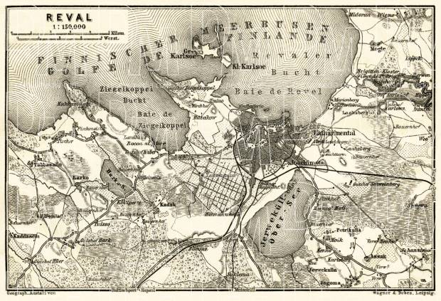 Old map of Reval Tallinn vicinity in 1914 Buy vintage map replica