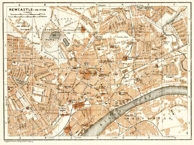 Old map of Newcastle upon Tyne in 1906 Buy vintage map replica