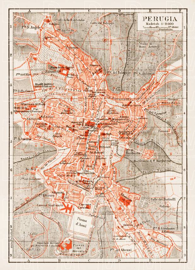 Old Map Of Perugia In 1903 Buy Vintage Map Replica Poster Print Or