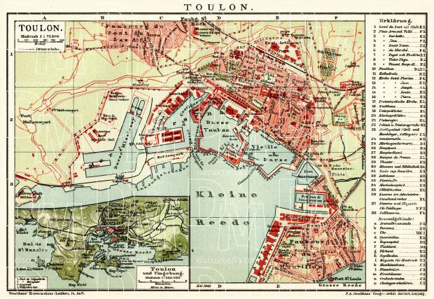 Old map of Toulon and vicinity of Toulon in 1903 Buy vintage map