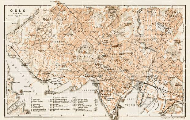 Old map of Oslo in 1929 Buy vintage map replica poster print or