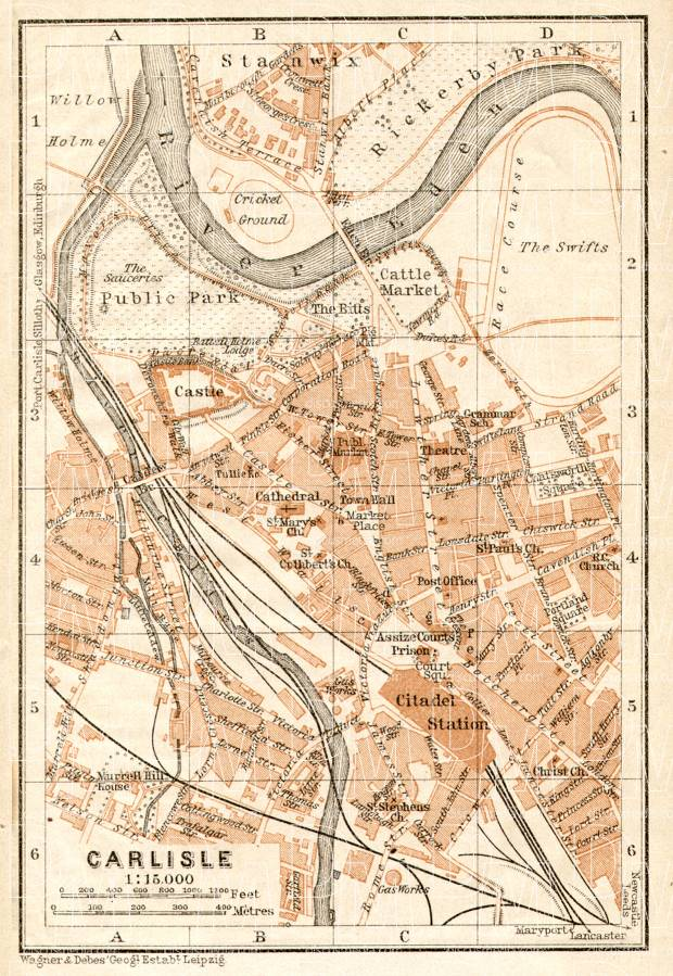 Old map of Carlisle in 1906 Buy vintage map replica poster print or