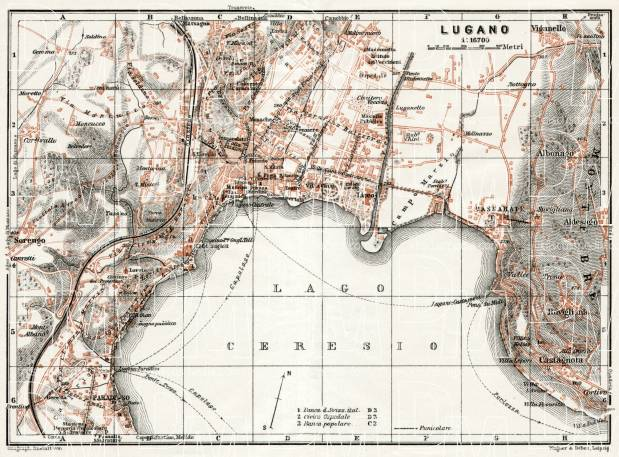 Old map of Lugano in 1909. Buy vintage map replica poster print or ...