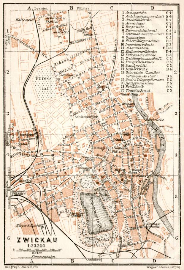 Old map of Zwickau in 1911 Buy vintage map replica poster print or