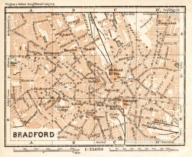 Old map of Bradford in 1906 Buy vintage map replica poster print or