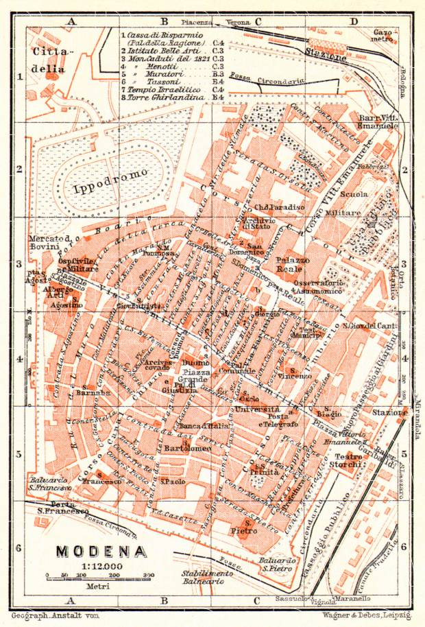 Old map of Modena in 1908 Buy vintage map replica poster print or
