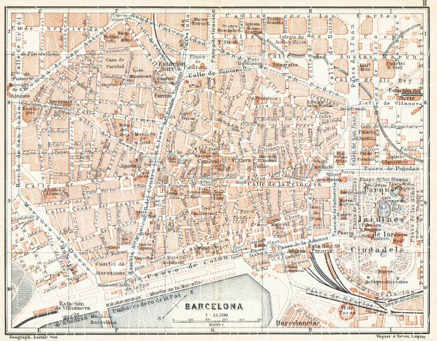 Old map of Barcelona Center in 1899 Buy vintage map replica poster