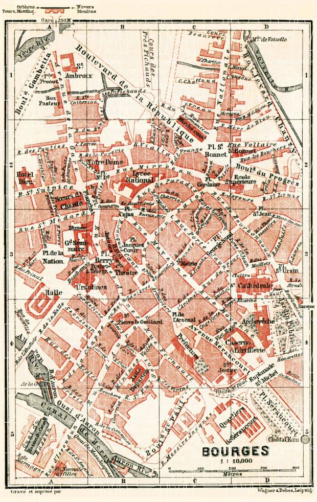 Old map of Bourges in 1885 Buy vintage map replica poster print or