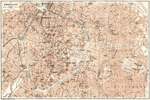 Old map of Brussels (Bruxelles) in 1909. Buy vintage map replica ...