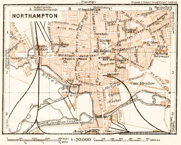 Old map of Northampton in 1906 Buy vintage map replica poster print