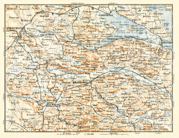 Old map of the vicinity of Schaffhausen Schaffhouse and Konstanz