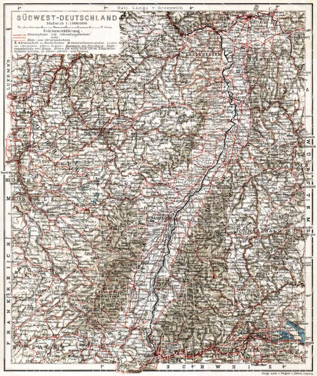 Old Map Of Southwest Germany In 1905 Buy Vintage Map Replica Poster
