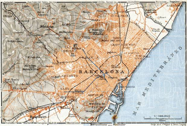 Old map of Barcelona and Suburbs in 1929. Buy vintage map ...