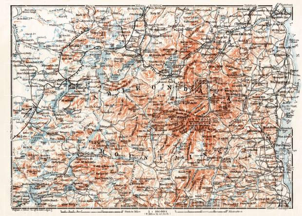 Old Map Of The Adirondack Mountains In Buy Vintage Map - Adirondack mountains on us map