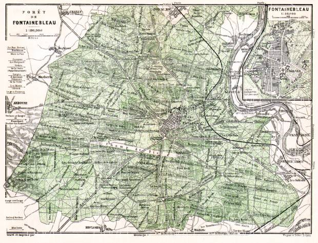 Old map of the Forest of Fontainebleau in 1910 Buy vintage map