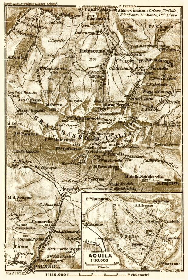 Old map of LAquila and Gran Sasso dItalia vicinity in 1912 Buy