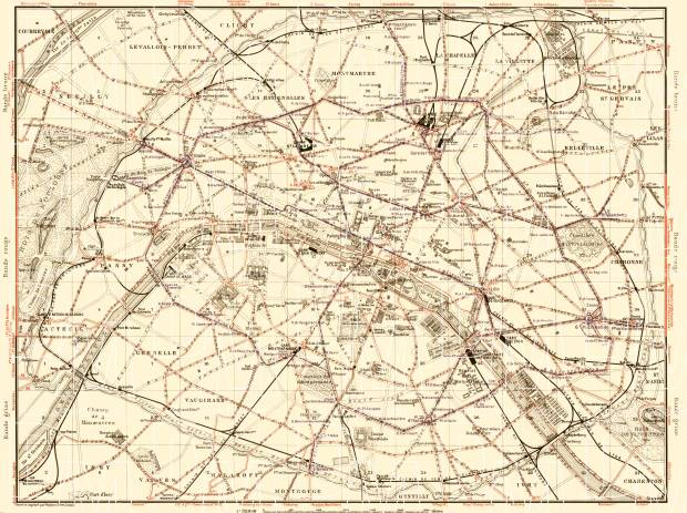 Old map of Paris Tramway and Metro Networks in 1903. Buy vintage map ...
