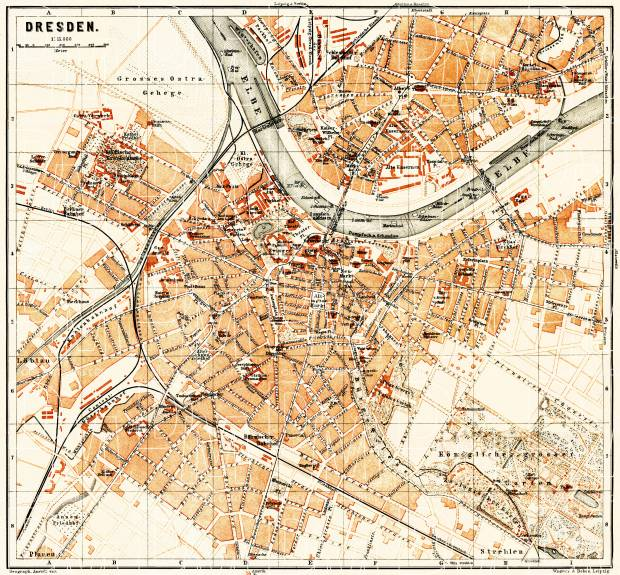 Dresden On Map Of Germany.Dresden City Map 1887