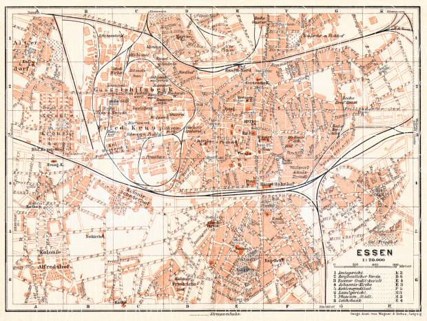 Old Map Of Essen In 1906 Buy Vintage Map Replica Poster Print Or