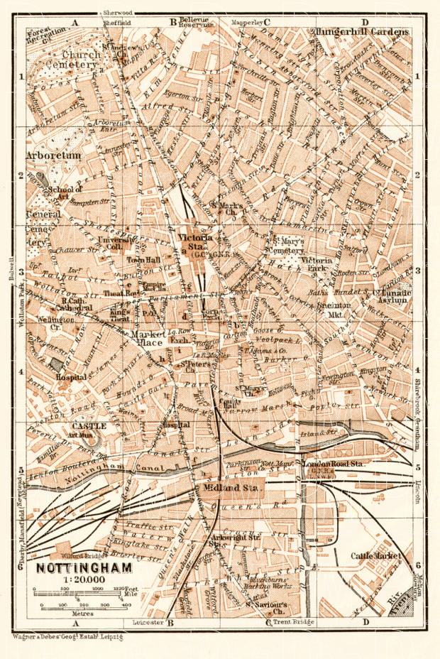 Old map of Nottingham in 1906 Buy vintage map replica poster print
