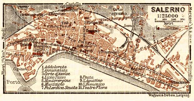 Old Map Of Salerno In 1929 Buy Vintage Map Replica Poster Print Or