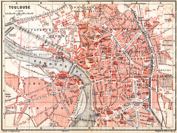 Old map of Toulouse in 1885 Buy vintage map replica poster print or