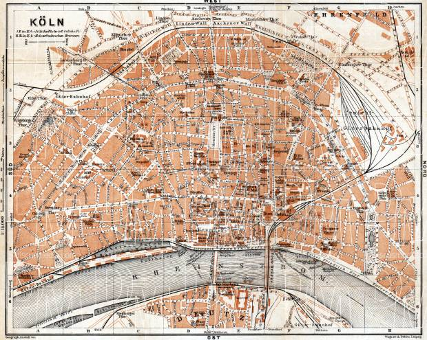 Old map of Cologne Kln in 1905 Buy vintage map replica poster