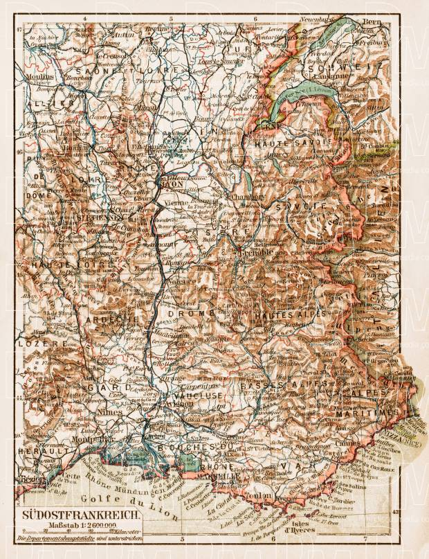 Map Of South East France.France Southeastern Part General Map 1913