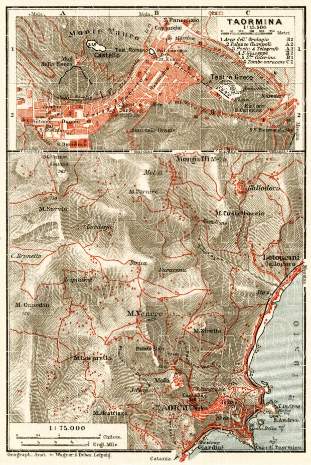 Old Map Of Taormina And Vicinity In 1929 Buy Vintage Map Replica