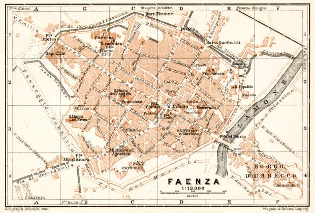 Old map of Faenza in 1909 Buy vintage map replica poster print or