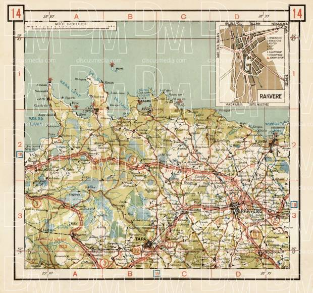 Old map of the north Estonia around Rakvere and Tapa in 1938 Buy