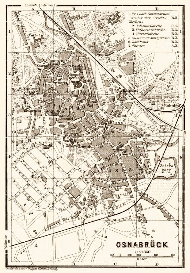 Old map of Osnabrck in 1887 Buy vintage map replica poster print