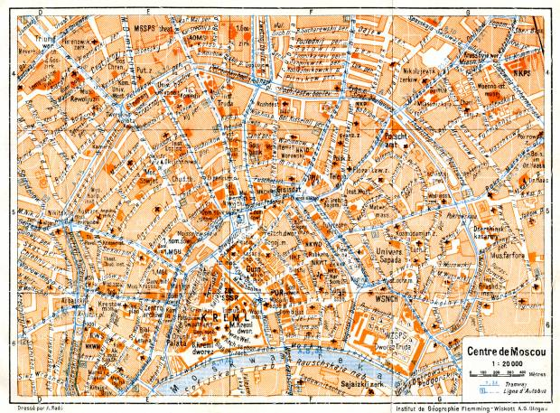 Moscow (Москва, Moskva), central part map, 1928