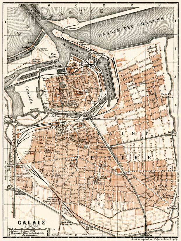 Old map of Calais in 1913 Buy vintage map replica poster print or