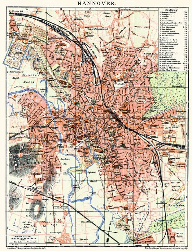 Old map of Hannover in 1910 Buy vintage map replica poster print or