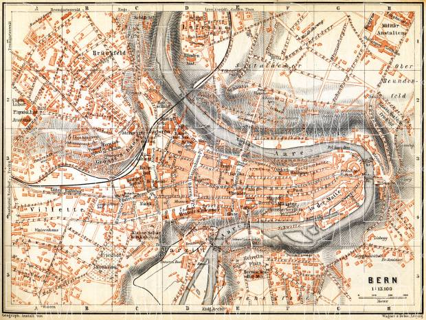 Old map of Berne in 1897 Buy vintage map replica poster print or