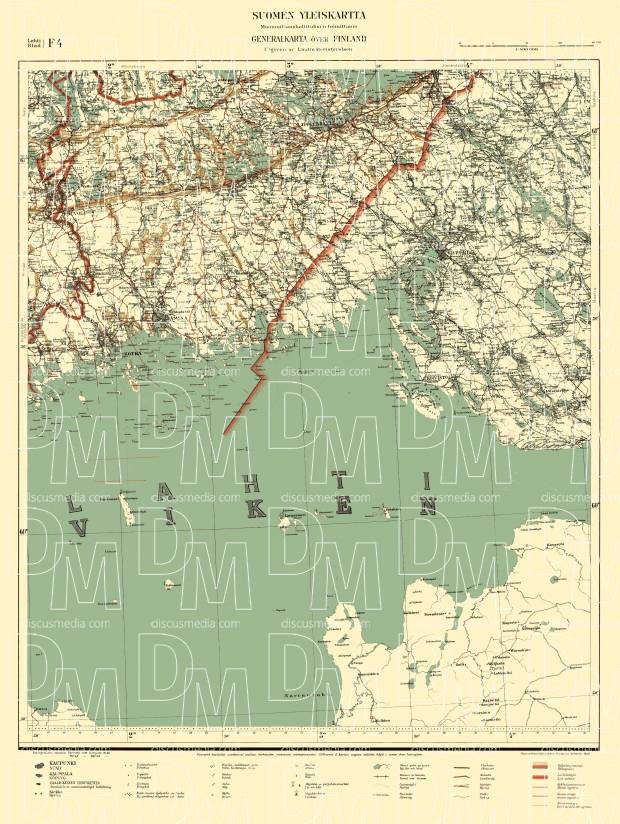 Old map of Kotka Viipuri and vicinity in 1940 Buy vintage map