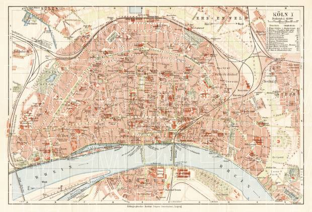 Old map of Cologne Kln in 1927 Buy vintage map replica poster