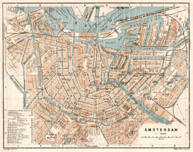 Old map of Amsterdam in 1909 Buy vintage map replica poster print